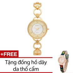 Đồng Hồ Nữ Day Kim Loại Bewatch Vang Tặng Kem 1 Đồng Hồ Day Da Thổ Cẩm Mới Nhất