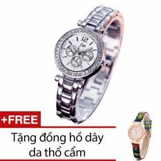 Bán Đồng Hồ Nữ Day Kim Loại Trắng Tặng Kem 1 Đồng Hồ Day Da Thổ Cẩm Rẻ Nhất
