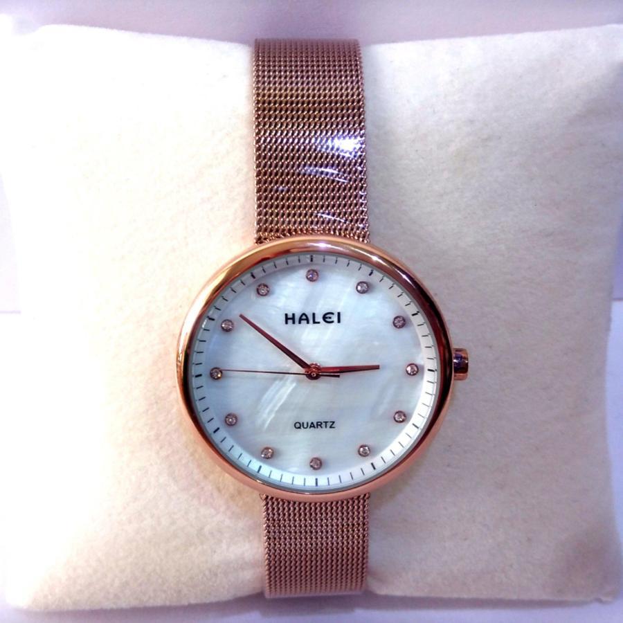 Đồng hồ nữ dây lụa mạ vàng cao cấp Halei TPO-HL1606