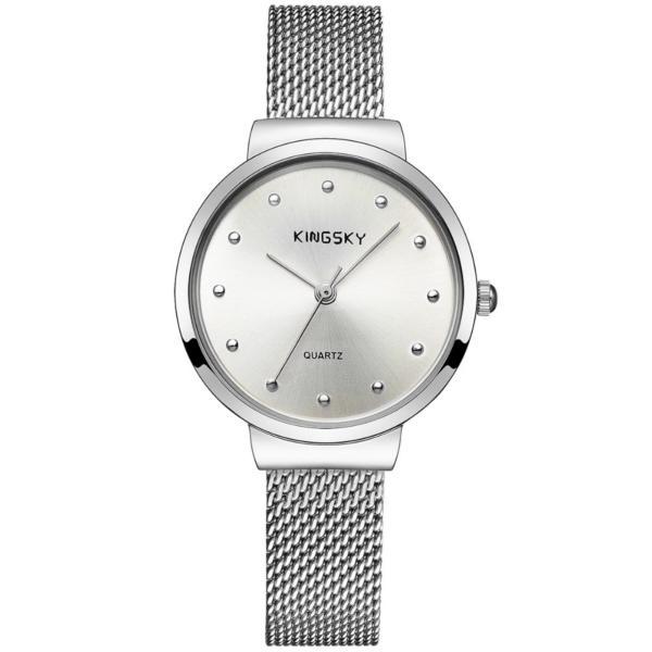 Đồng hồ nữ dây lưới KingSky  ZE88 (màu bạc)