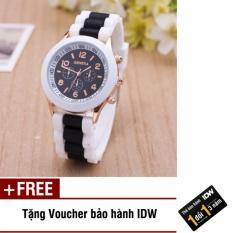 Hình ảnh Đồng hồ nữ dây silicon thời trang Geneva IDW 8291 (Đen) + Tặng kèm voucher bảo hành IDW