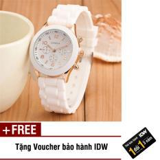 Hình ảnh Đồng hồ nữ dây silicon thời trang Geneva IDW 9002 (Mặt trắng) + Tặng kèm voucher bảo hành IDW