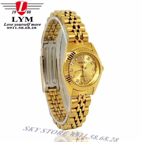 Đồng hồ nữ dây thép không gỉ cao cấp HALEI 356L (vàng)
