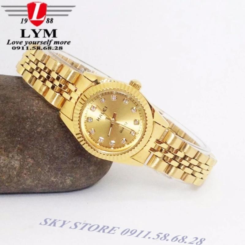 Đồng hồ nữ dây thép không gỉ cao cấp HALEI HA3256 (vàng)