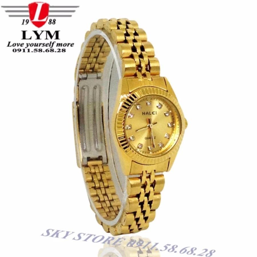 Đồng hồ nữ dây thép không gỉ cao cấp HALEI HA3256BM (vàng)