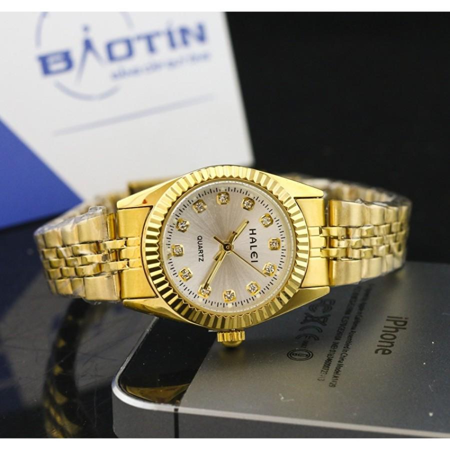 Đồng hồ nữ dây thép không gỉ HALEI mạ vàng DHNL1021
