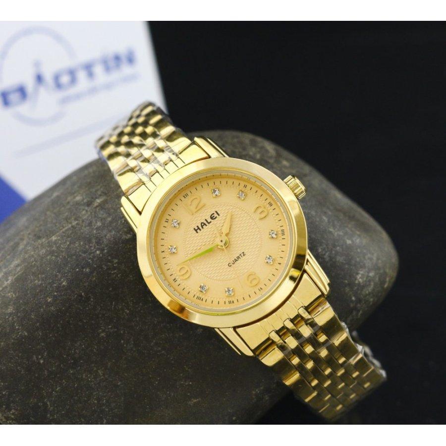 Đồng hồ nữ dây thép không gỉ Halei mạ vàng DHNL1029