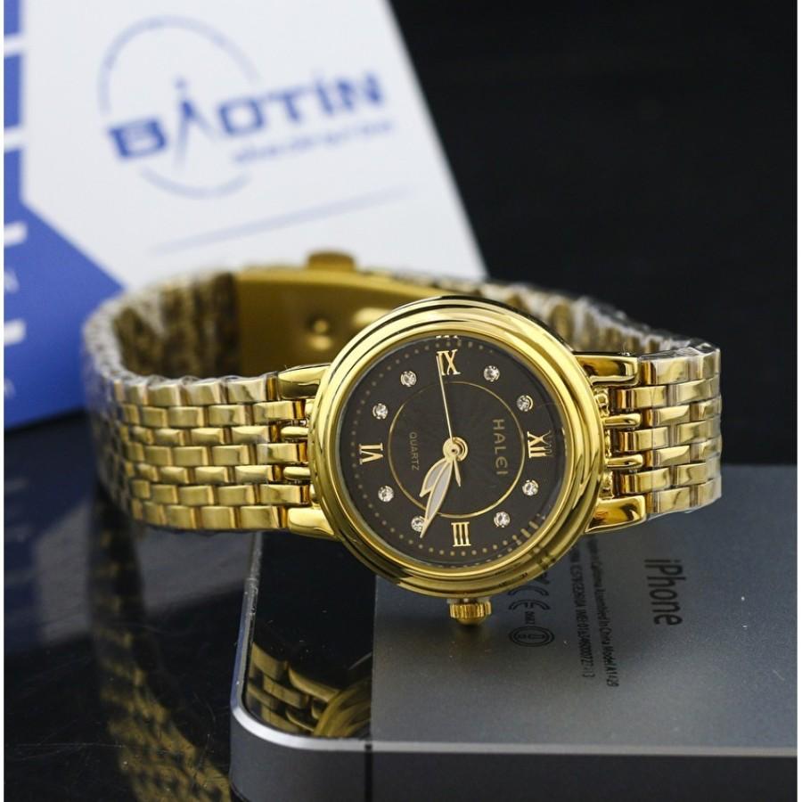 Đồng hồ nữ dây thép không gỉ HALEI mạ vàng DHNL1035