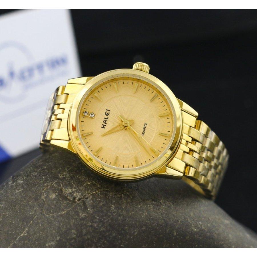 Đồng hồ nữ dây thép không gỉ  HALEI mạ vàng DHNL1064