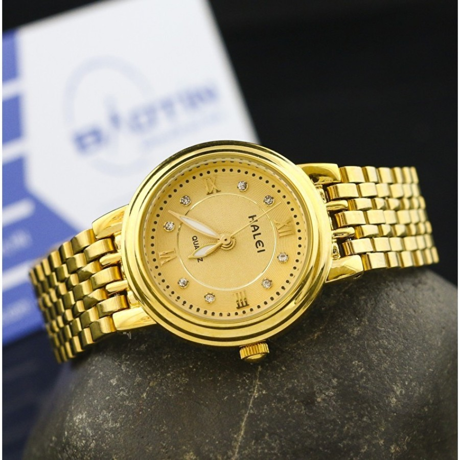 Đồng hồ nữ dây thép không gỉ mạ vàng HALEI DHNL1072