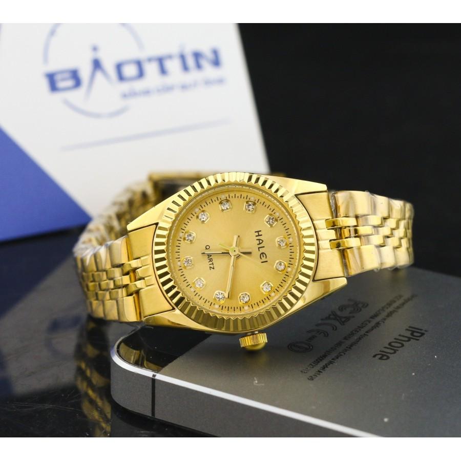 Đồng hồ nữ dây thép không gỉ TCT HALEI mạ vàng DHNL1034