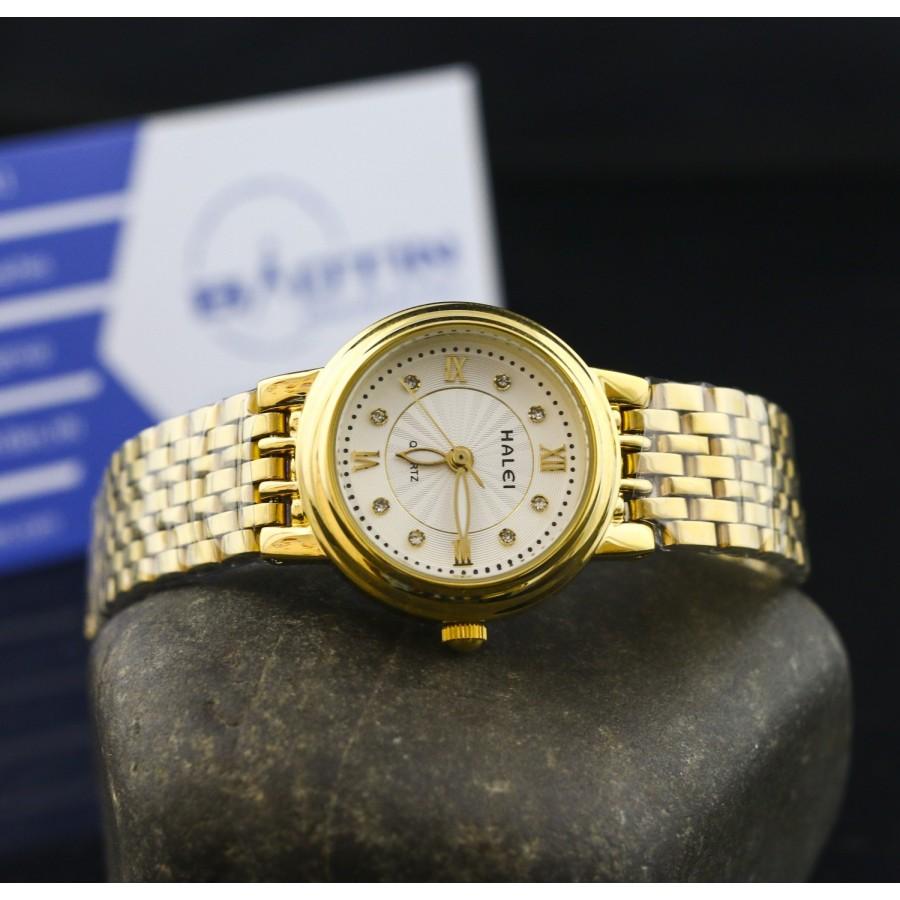 Đồng hồ nữ dây thép mạ vàng TCT HALEI SLHE1516