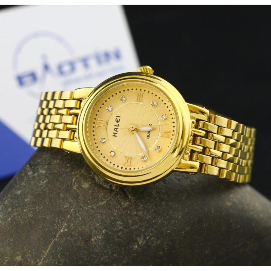 Đồng hồ nữ đính đá HALEI JAPAN chống nước tốt - Dây vàng mặt vàng.