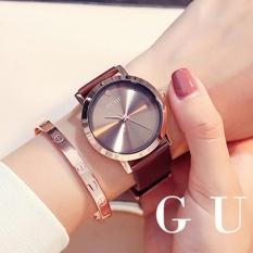 Đồng hồ nữ GUOU chất liệu dây da mặt trơn 3 kim trẻ trung