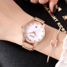 Nơi bán Đồng hồ nữ GUOU đẳng cấp doanh nhân dây thép vàng hồng mặt đính đá MDL-G8186