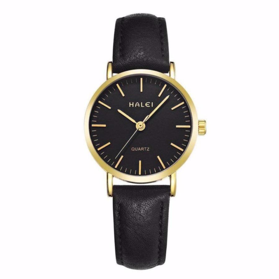 Đồng hồ nữ Halei 135 day da đen chống nước - N1849