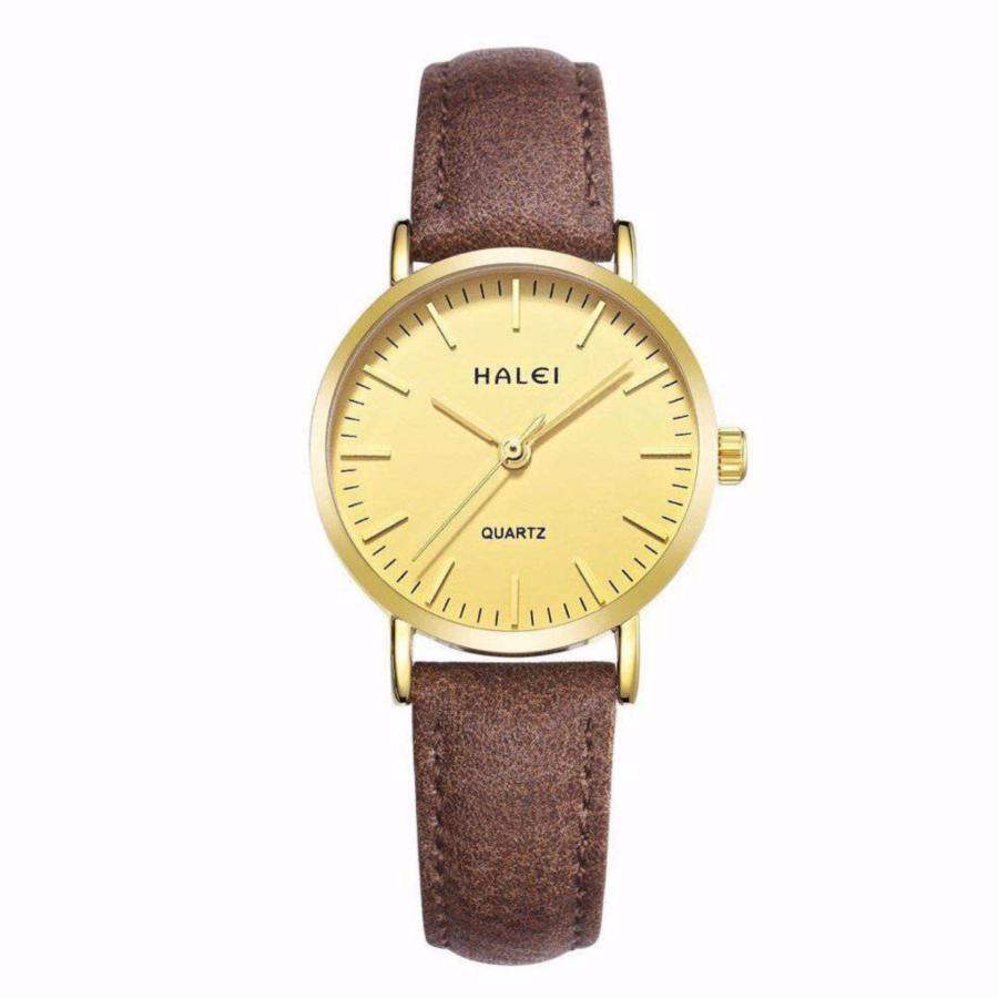 Đồng hồ nữ Halei 135 dây nâu chống nước tuyệt đối