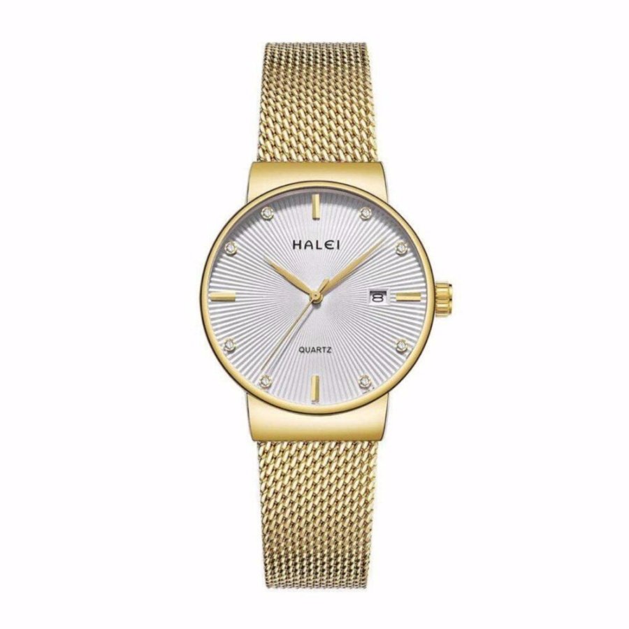Đồng hồ nữ Halei 1533 dây mành vàng mặt trắng - N1210