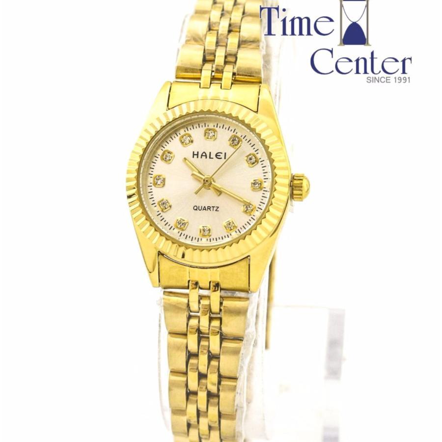 Đồng hồ nữ HALEI 180 dây thép màu vàng đính đá chống nước