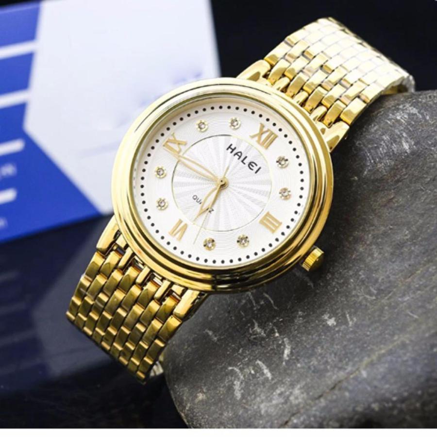 Đồng hồ nữ Halei 502 dây thép màu vàng chống nước