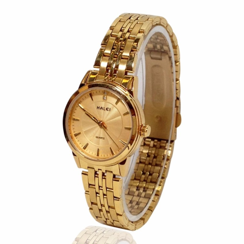 Đồng hồ nữ HALEI 555 LYMHOME dây thép vàng cao cấp