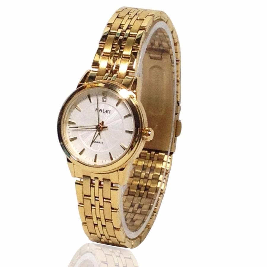 Đồng hồ nữ HALEI 663 dây thép vàng cao cấp