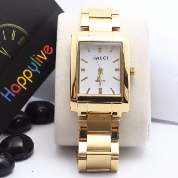 Đồng hồ nữ halei hl465 V6 vuông mặt trắng chống nước bán chạy