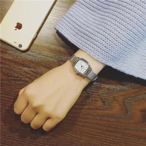 Đồng hồ nữ JIs dây kim loại mặt  vuông