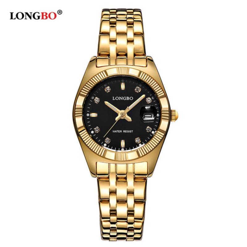 Nơi bán Đồng hồ Nữ LONGBO 80163014R (vàng, mặt đen, dây mạ vàng, thép không gỉ)