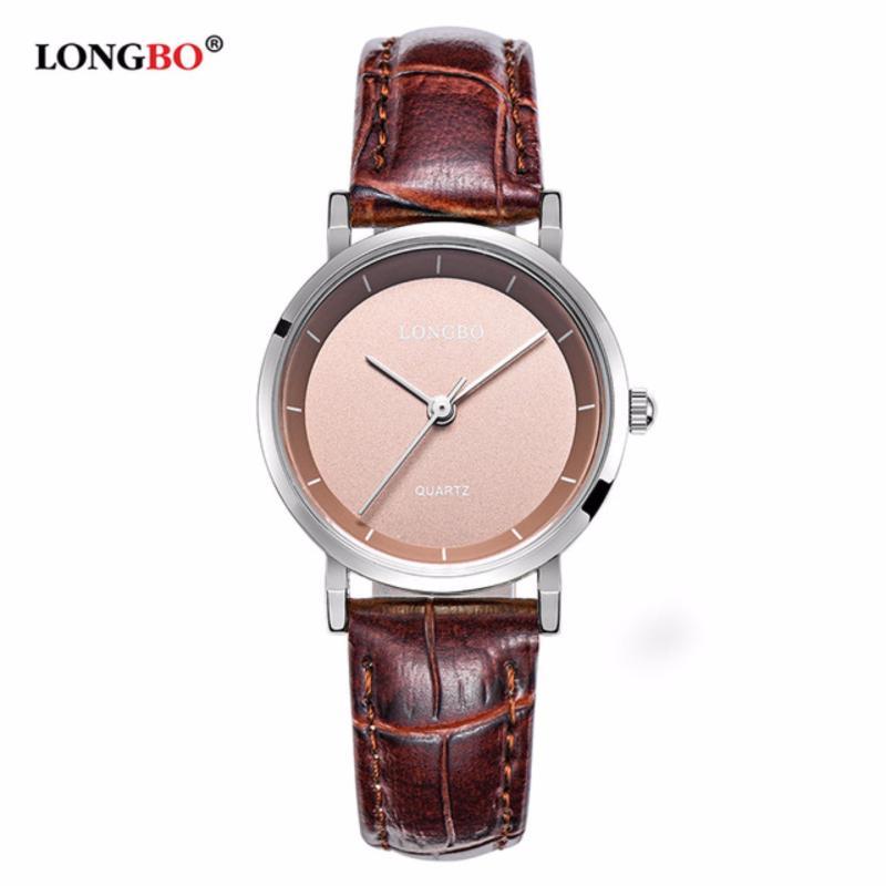 Nơi bán Đồng hồ Nữ LONGBO 80260L-S0505 (trắng, mặt vàng hồng, dây da nâu)