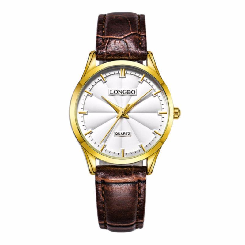 Nơi bán Đồng hồ Nữ LONGBO 80293L-G0105 (vàng, mặt trắng, dây da nâu)
