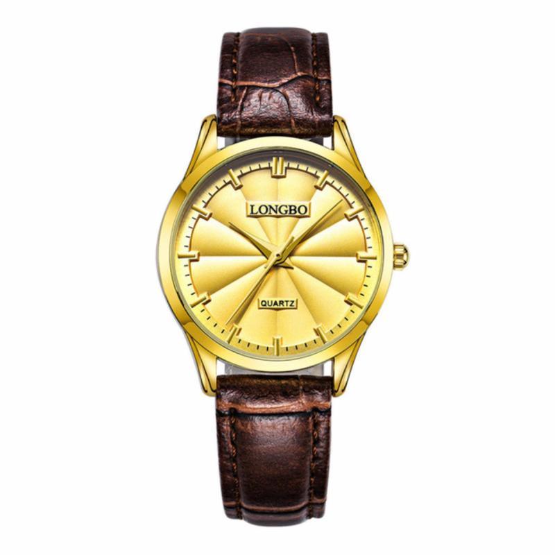 Nơi bán Đồng hồ Nữ LONGBO 80293L-G0305 (vàng, mặt vàng, dây da nâu)
