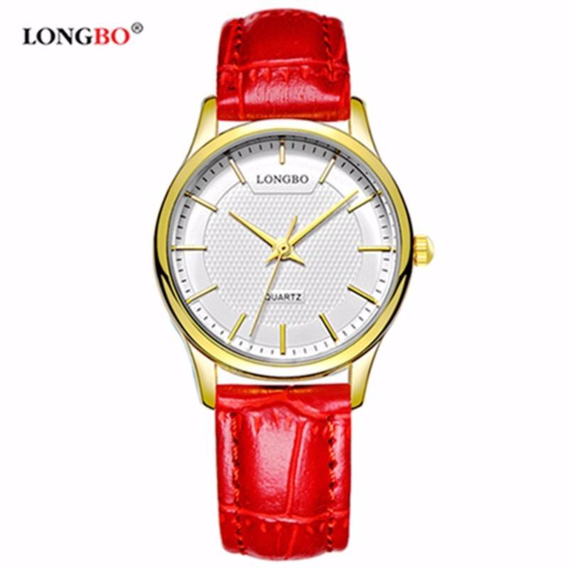 Nơi bán Đồng hồ Nữ LONGBO 80301L-G0109 (vàng, mặt trắng, dây da đỏ)