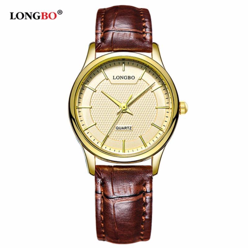 Nơi bán Đồng hồ Nữ LONGBO 80301L-G0305 (vàng, mặt vàng, dây da nâu)