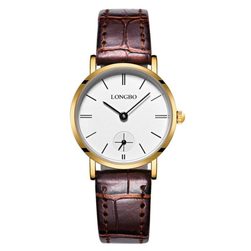 Nơi bán Đồng hồ Nữ LONGBO 80320L-G0105 (vàng, mặt trắng, dây da nâu)