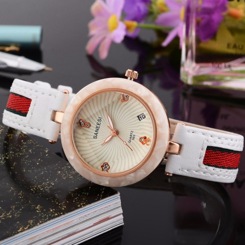 Nơi bán Đồng hồ nữ SANEESI chất liệu dây da mặt viền hoa đá hoạ tiết sang trọng