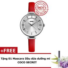 Không Nên Bỏ Lỡ Giá Sốc với Đồng Hồ Nữ Thanh Lịch Dây Da SKMEI 1184CL (Đỏ Phối Bạc) + Tặng Kèm Mascara Dầu Dừa Dưỡng Mi Coco Secret