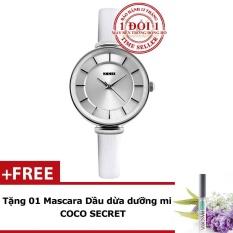 Chương Trình Ưu Đãi cho Đồng Hồ Nữ Thanh Lịch Dây Da SKMEI 1184CL (Trắng Phối Bạc) + Tặng Kèm Mascara Dầu Dừa Dưỡng Mi Coco Secret