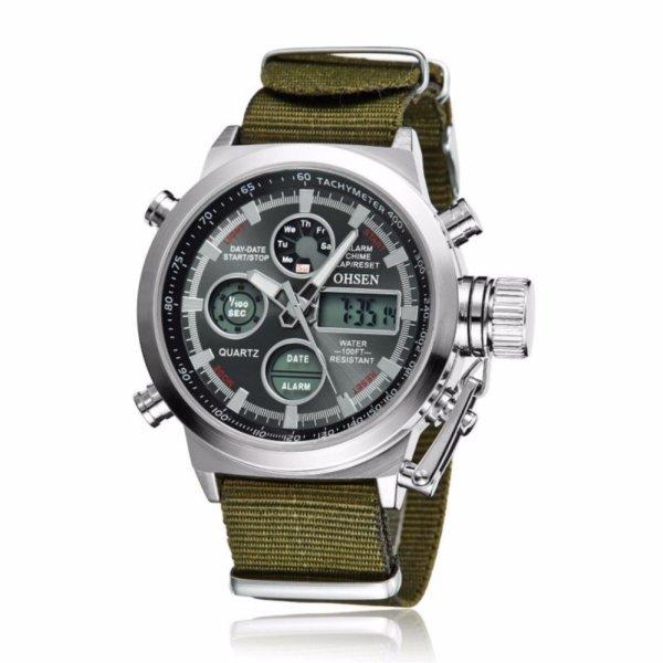 Đồng hồ Ohsen 2 kênh kiểu quân đội dây vải OS81