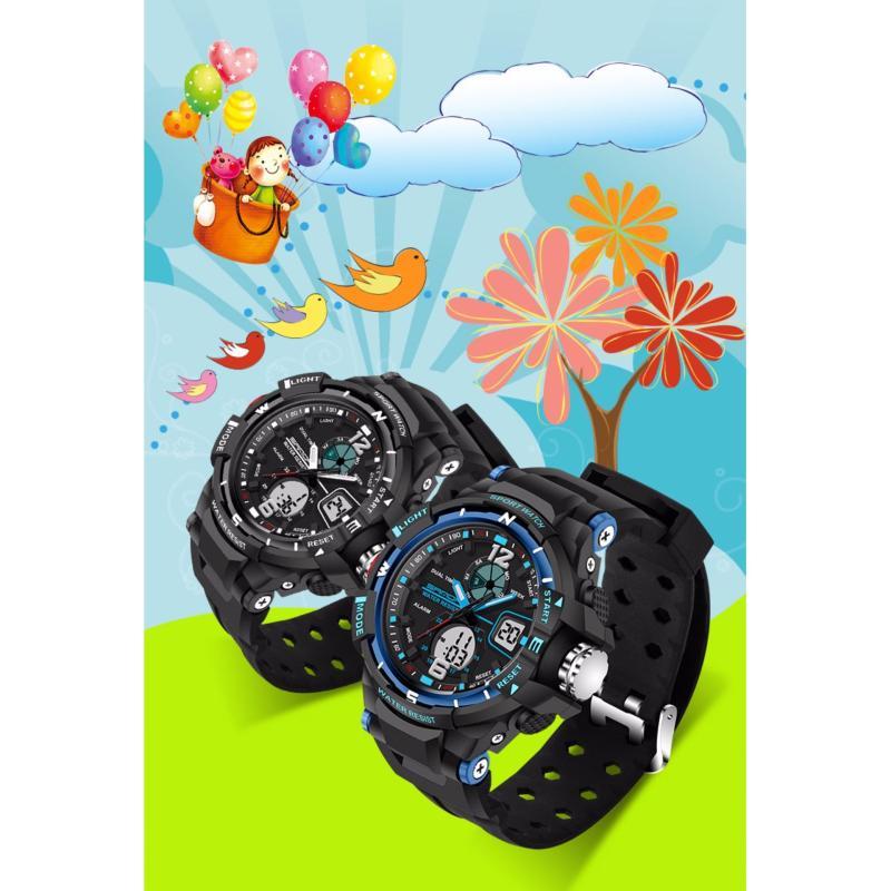 Đồng hồ thể thao bé trai chống nước SANDA 789, dây silicone (đen - xanh biển) bán chạy