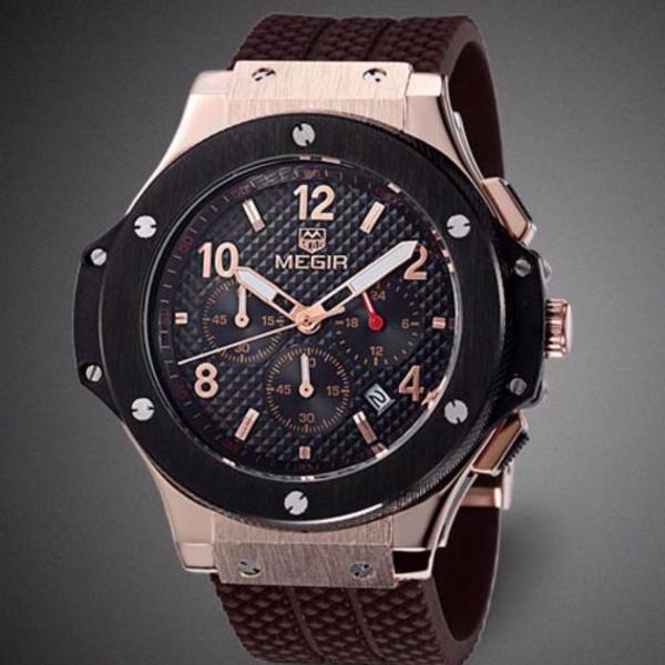 Đồng hồ thể thao MEGIR chạy 6 kim Chronograph (M Dây Nâu viền vàng)