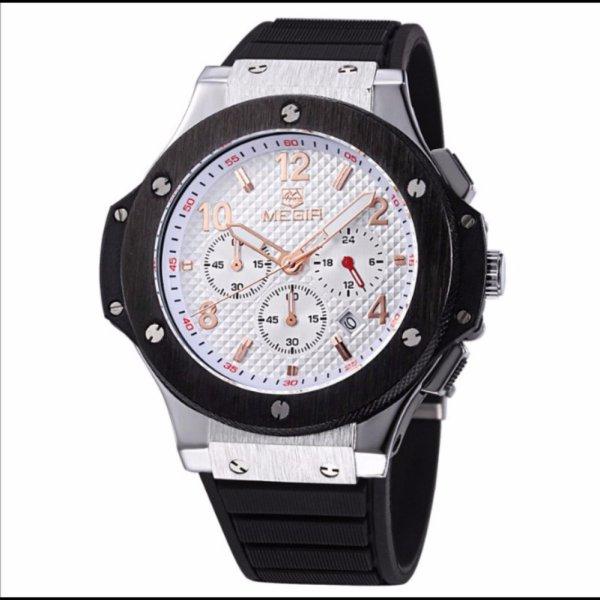 Đồng hồ thể thao MEGIR chạy 6 kim Chronograph (Trắng)