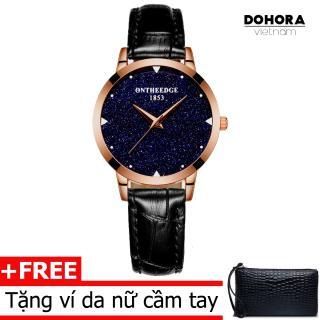 Đồng hồ thời trang nữ Ontheedge DO6 dây da cao cấp cấp chống nước + Tặng kèm ví da cầm tay nữ thumbnail