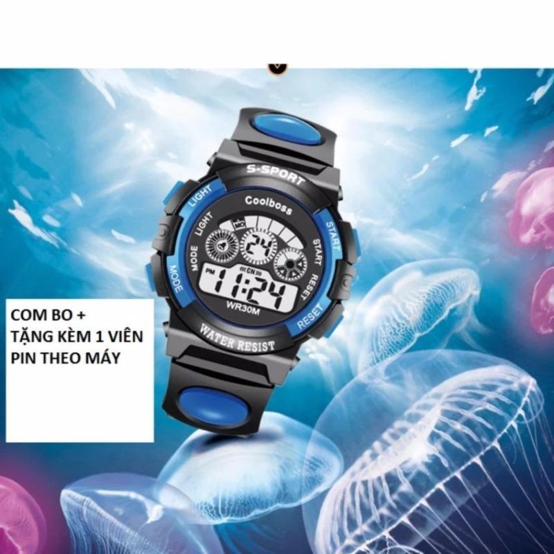 Nơi bán Đồng hồ trẻ em chống nước cao cấp Coolboss 0119 tặng kèm 1 pin ( Xanh dương)