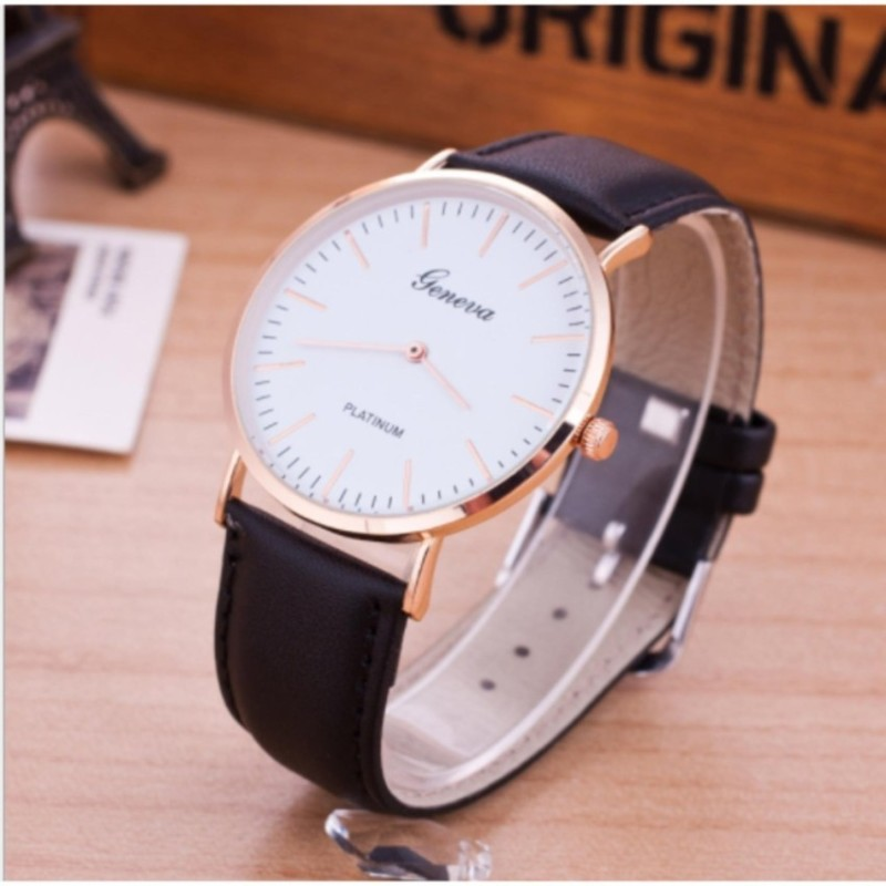 Đồng hồ unisex dây da tổng hợp Hth ( Đen )
