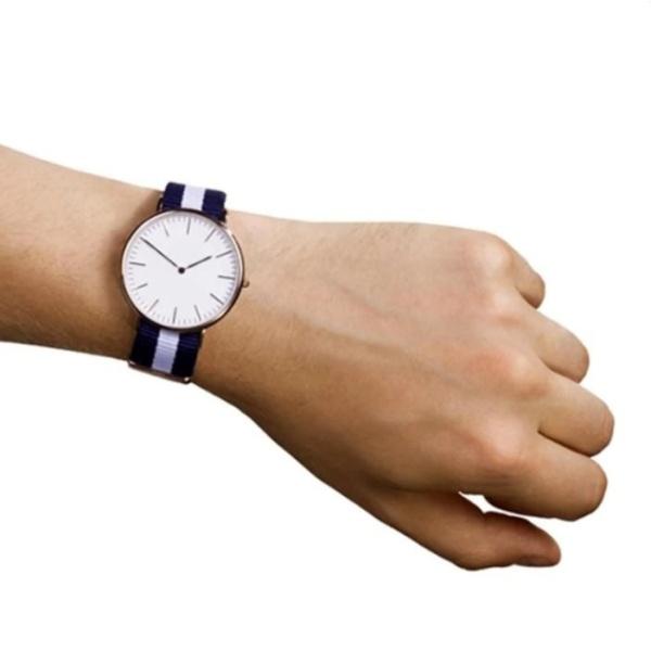 Đồng hồ Unisex dây vải nato Geneva xanh-trắng-xanh