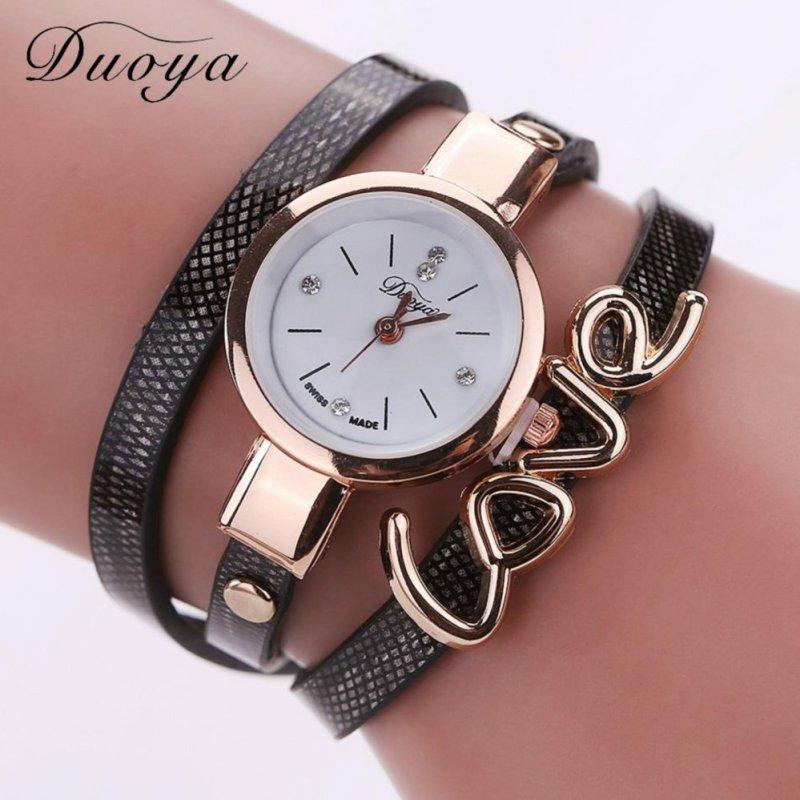 Nơi bán Duoya Womens Casual Vintage Fashion Multilayer Wristwatch Rivet Leather Wrist Watch - intl