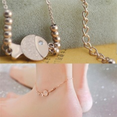 Elegant Cute Fish Anklet Chain Rose Gold Titanium Lover Barefoot Chain Jewelry Rose Gold - intl