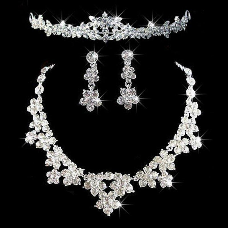Elegant Luxurious Diamante Rhinestone Necklace Earring Crown Set  Wedding(Intl)
