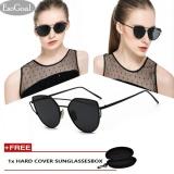 Esogoal Cat Eye Sunglasses Mirrored Flat Lenses Metal Frame Women Eyewear With Case Black Gray Intl Trung Quốc Chiết Khấu 50